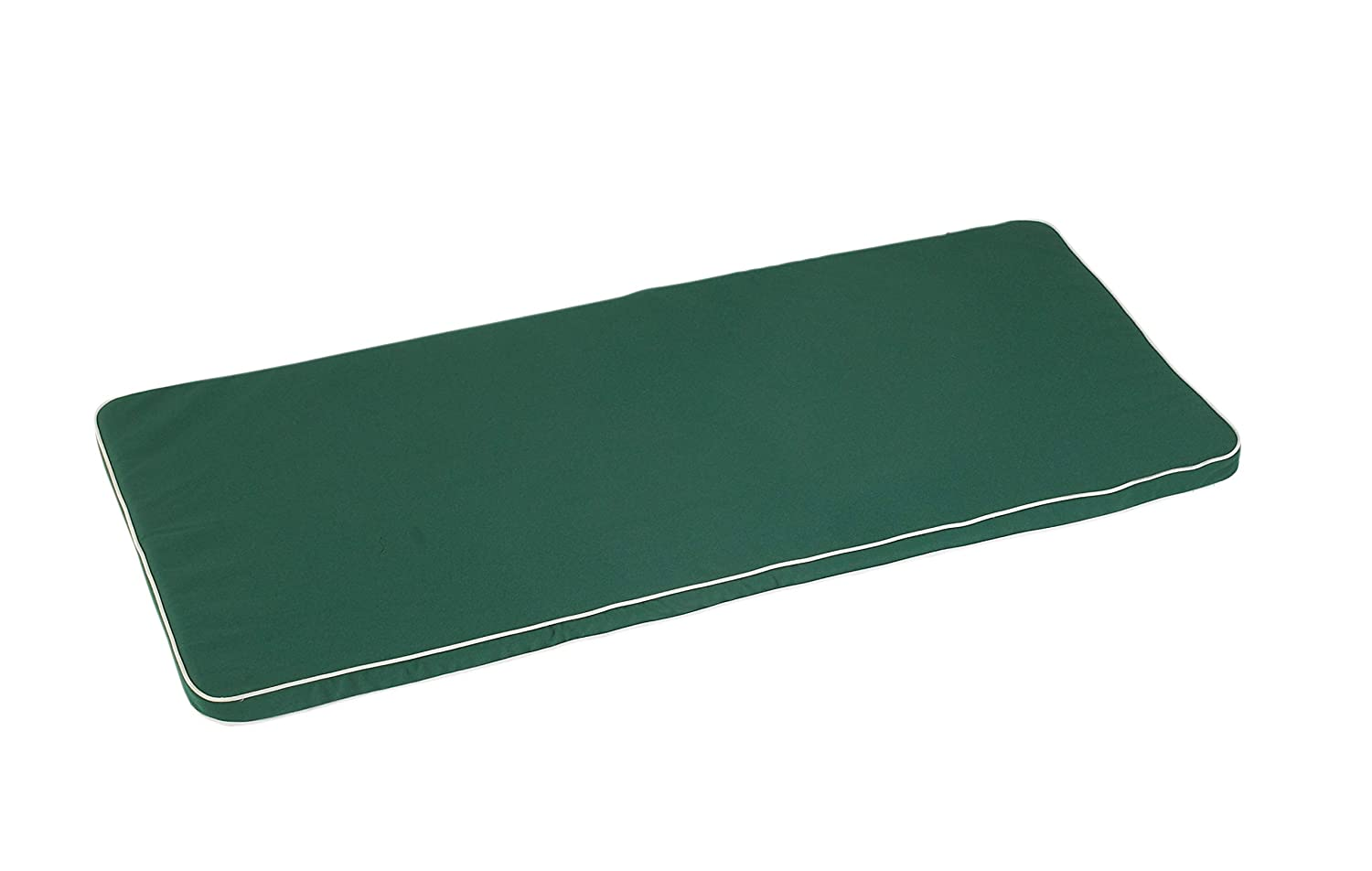 Bench Seat Pad 144cm x 46cm Bench Seat Pad Green with Ecru Piping