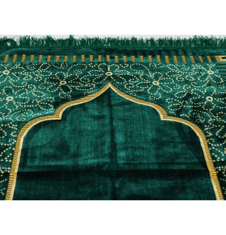 Modefa Prayer Rug Green Thin Velvet Namaz Sajadah Janamaz Floral Daisy Arch