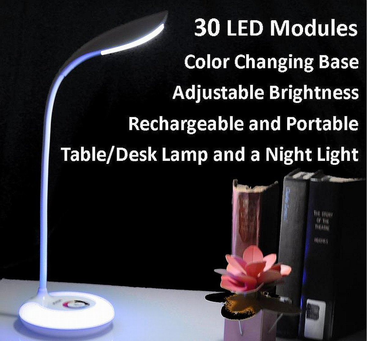 Portable Rechargeable Adjustable Brightness LED Table/Desk Lamp with Color Changing Base, White