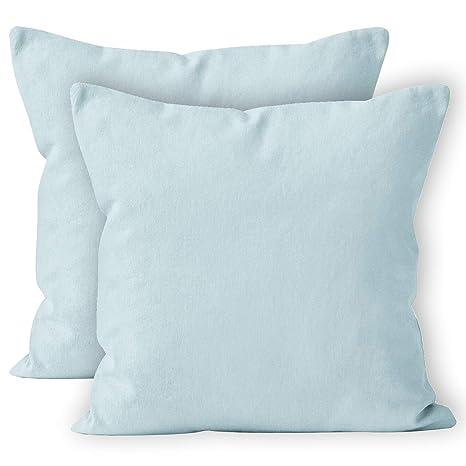 Encasa Homes 2Peice - Funda de cojín, algodón, Ice Blue, 60cm x 60cm (24