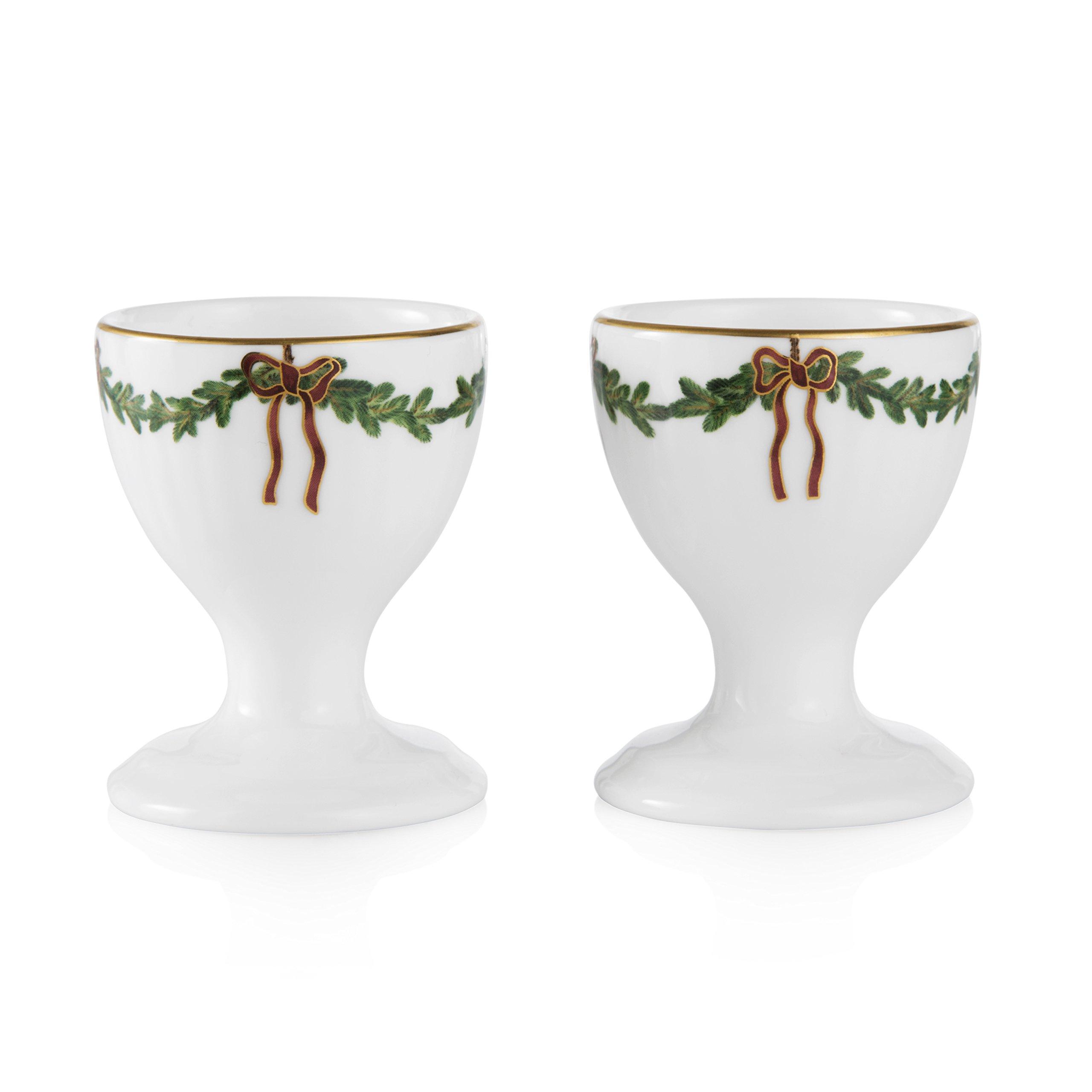 Royal Copenhagen Star Fluted Christmas Egg Cup Set of 2