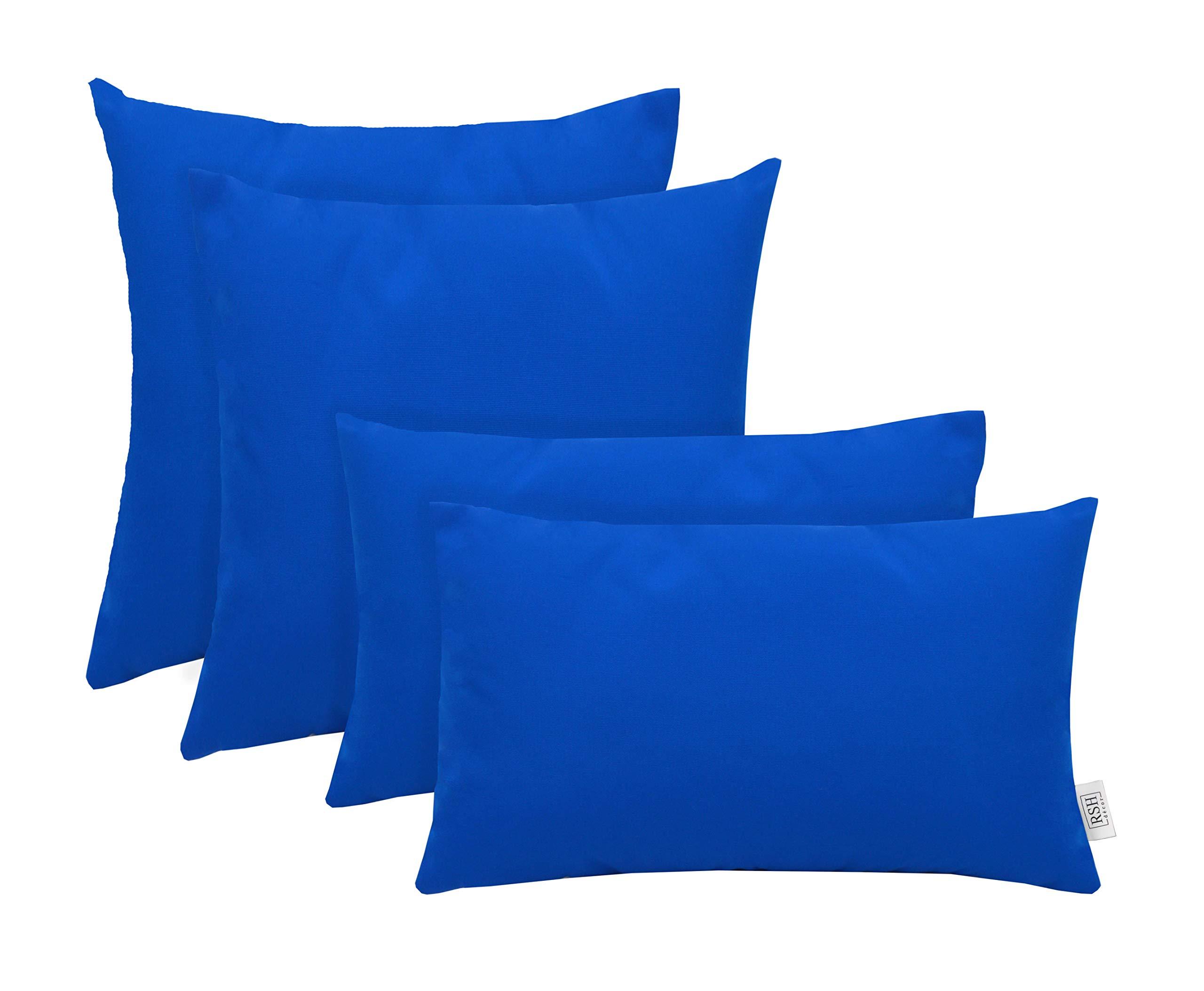 RSH Décor Set of 4 Indoor/Outdoor Square & Rectangle Lumbar Throw Pillows Sunbrella Canvas Pacific Blue (20'' x 12'' & 17'' x 17'')