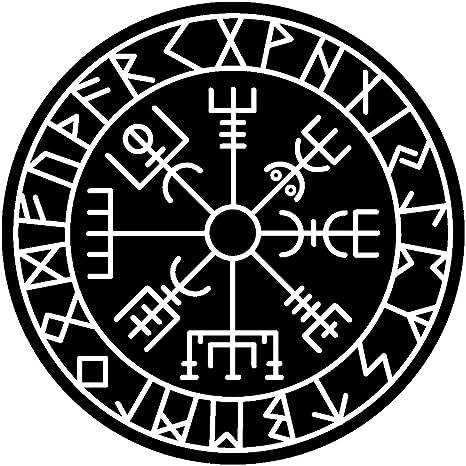 Samunshi Aufkleber Vegvisir Mit Runen 4 Vikings Wikinger Für Auto Motorrad In 11 Größen Und 25 Farben 15x15cm Schwarz Küche Haushalt