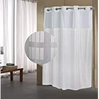 Fabritones Shower Curtain with Snap in Liner Grommet Hook Less Checker Pattern Waterproof 71x74 Inch