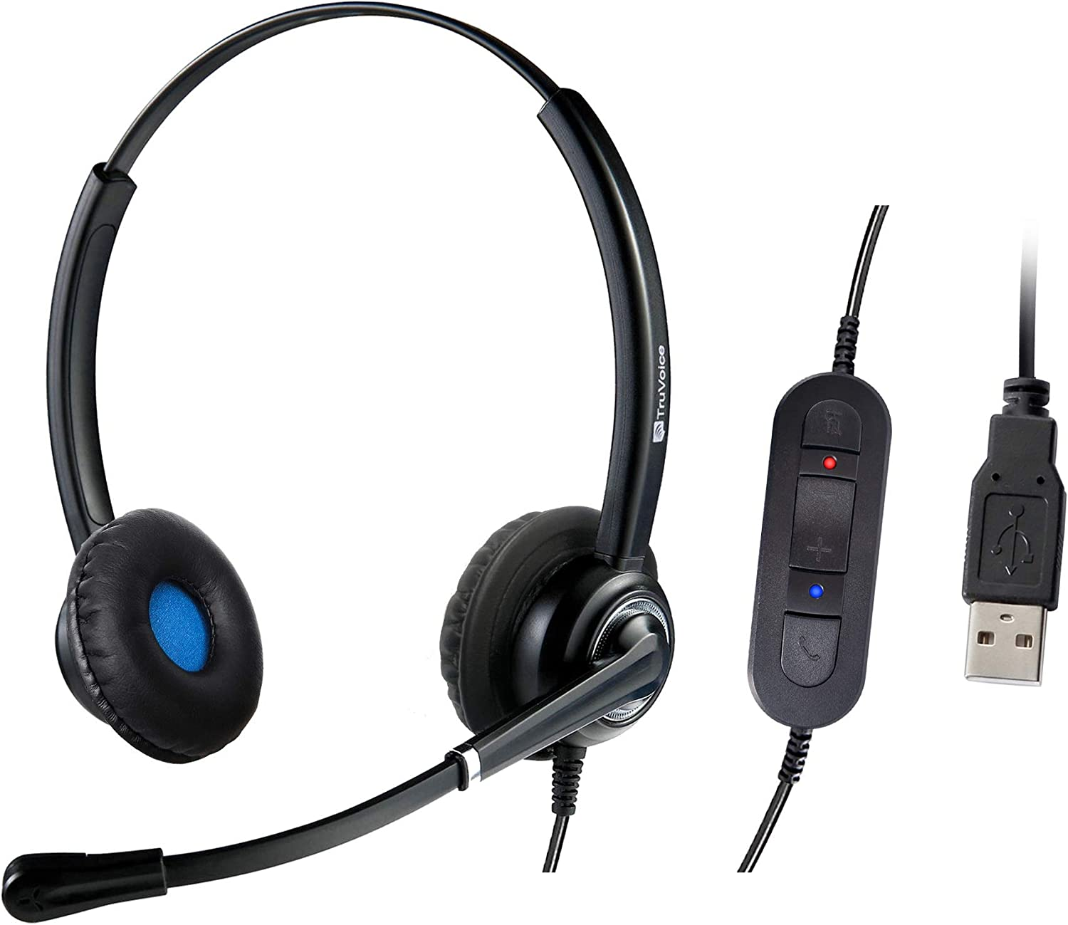 VoicePro 20 Double Ear Professional USB Call Center/Office Headset with Noise Canceling Microphone and in-Line Call Controls - Works with Skype, Dragon, Teams, Zoom, Cisco Jabber, Avaya X and More