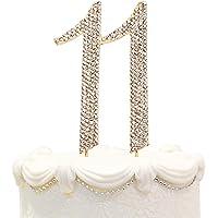 Hatcher lee Bling Crystal Rhinestone 11 Birthday Cake Topper - Best Keepsake   11th Party Decorations Gold