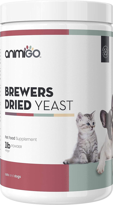 Animigo Poudre de levure de bière 454g Poudre de Soutien nutritionnel pour Chats et Chiens