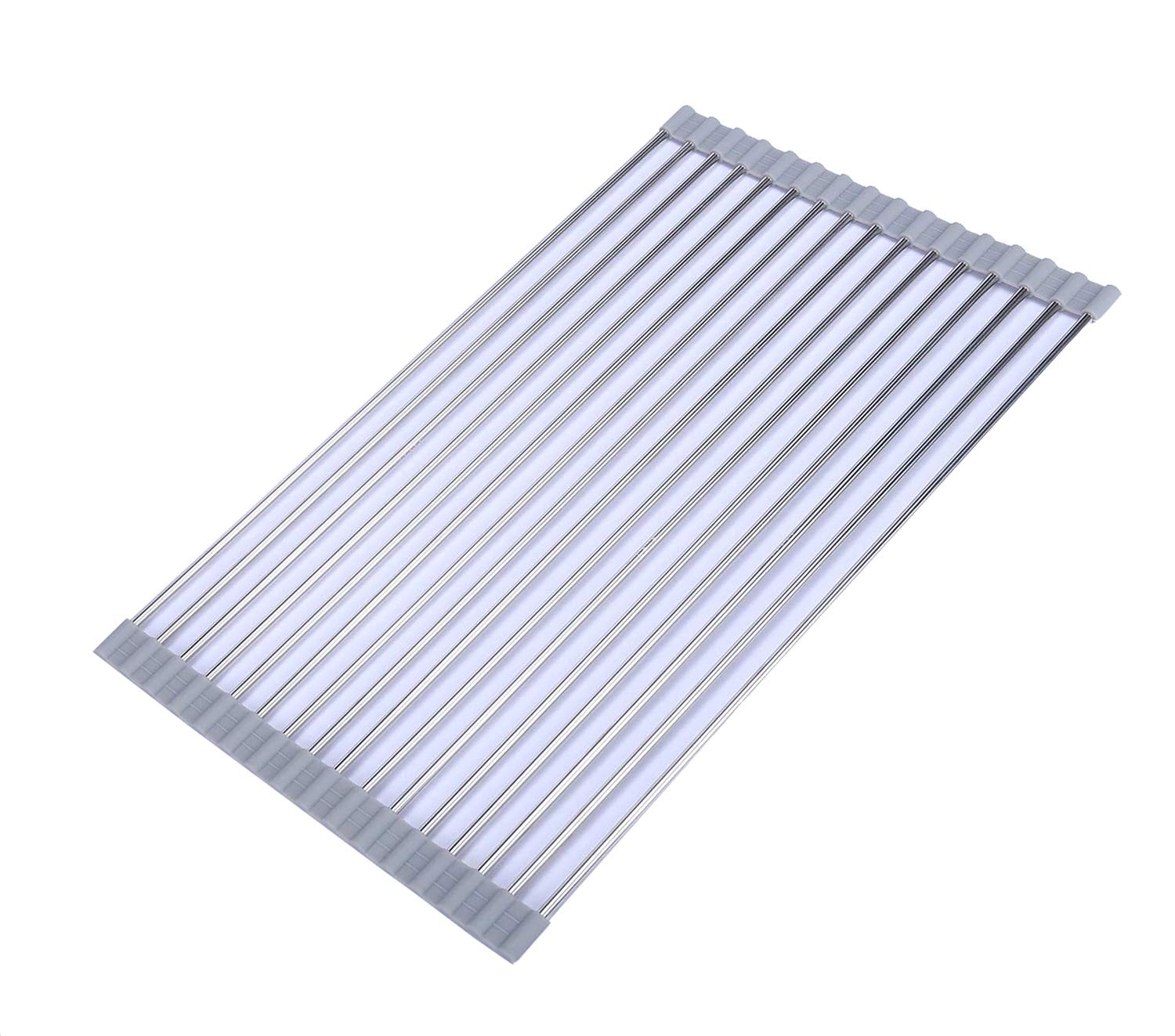 Ahyuan Roll up Dish Drainer Over The Sink Dish Drying Rack Roll up Dish Drying Rack Dish Drainers for Kitchen Sink Counter Roll-up Drying Rack SUS304 Stainless Steel Dish Drying Rack (Light Gray)