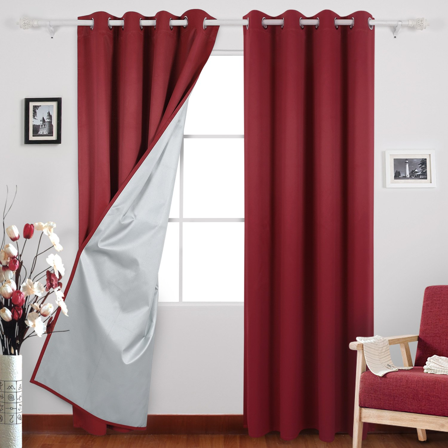 Red Deconovo Red Thermal Insulated Blackout Curtains with Silver Coating Blackout Panels