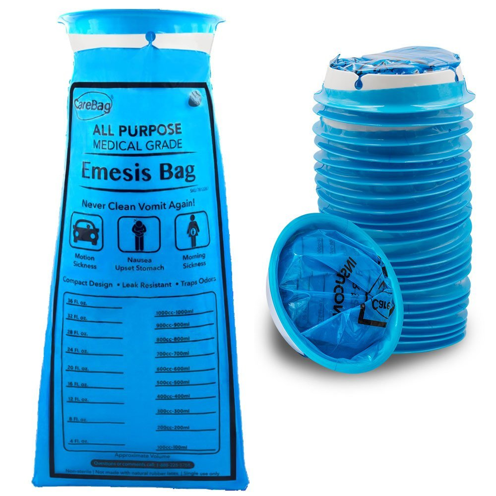 Carebag Medical Grade Emesis Bag - 144 Count - Disposable Emesis Bags for The Car - Designed for Motion Sickness & Morning Sickness - 6 Packs of 24 Travel Size Emesis Bags for on The go use (144) by Carebag