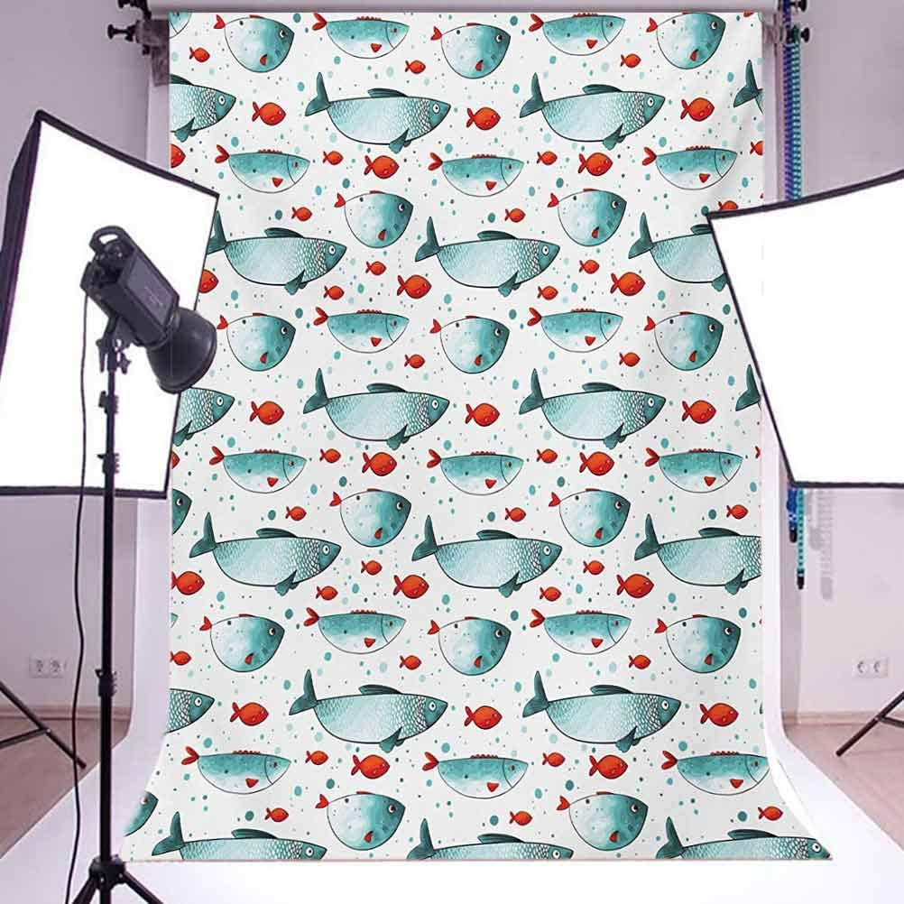 Fish 10x15 FT Backdrop Photographers,Subaquatic Animal Pattern on Dotted Background Ocean Inhabitants with Scales Background for Child Baby Shower Photo Vinyl Studio Prop Photobooth Photoshoot