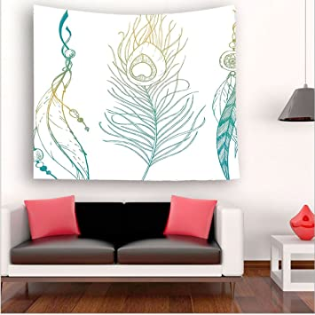 Nalahome Feather House Decor Aesthetic First Nations And Peacock Tail Traditional Design Mint Yellow