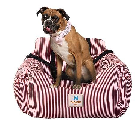Cama para perros con asiento elevador para coche de mascotas con cinturón de seguridad y bolsillo