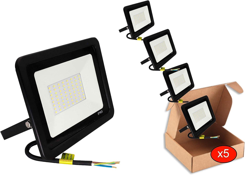 POPP® juegos de 5 y 10 Floodlight Led Foco Proyector Led 10w 20w 30w para Exterior Iluminación Decoración 6000k luz fria Impermeable IP65 Negro y Resistente al agua. (Focos 10 Watios, 5 unidad)