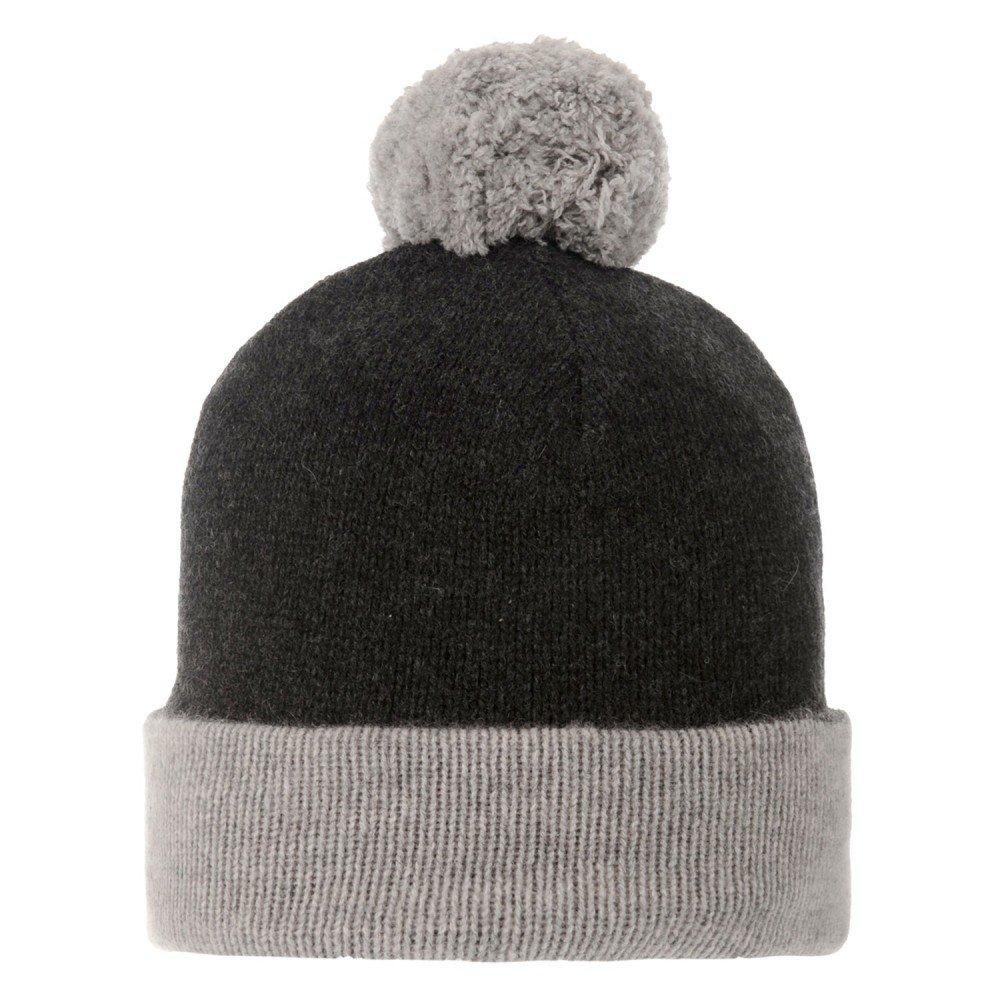 LES POULETTES Womens Bobble Hat 100% Cashmere 6 Plys Bicolour Colors - Grey