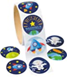 "Space Stickers (100 Pack) 1 1/2"". Paper."