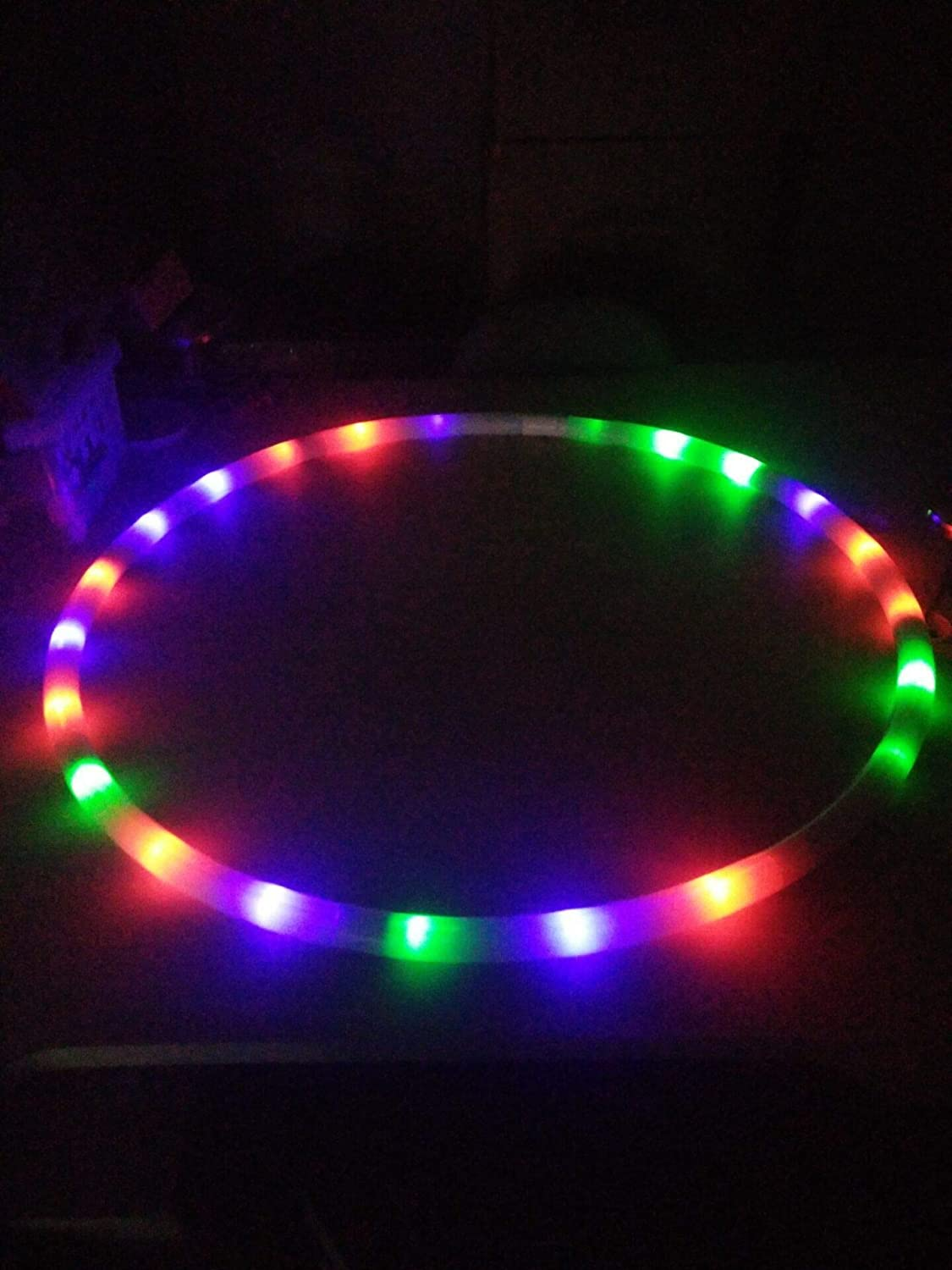 luckiner Colorful 24 LED Light Hoola Hoops Adults Kids Sport Hoops Weighted Hula Hoop Dance Toy for Sports Playing Exercise and Professional Fitness