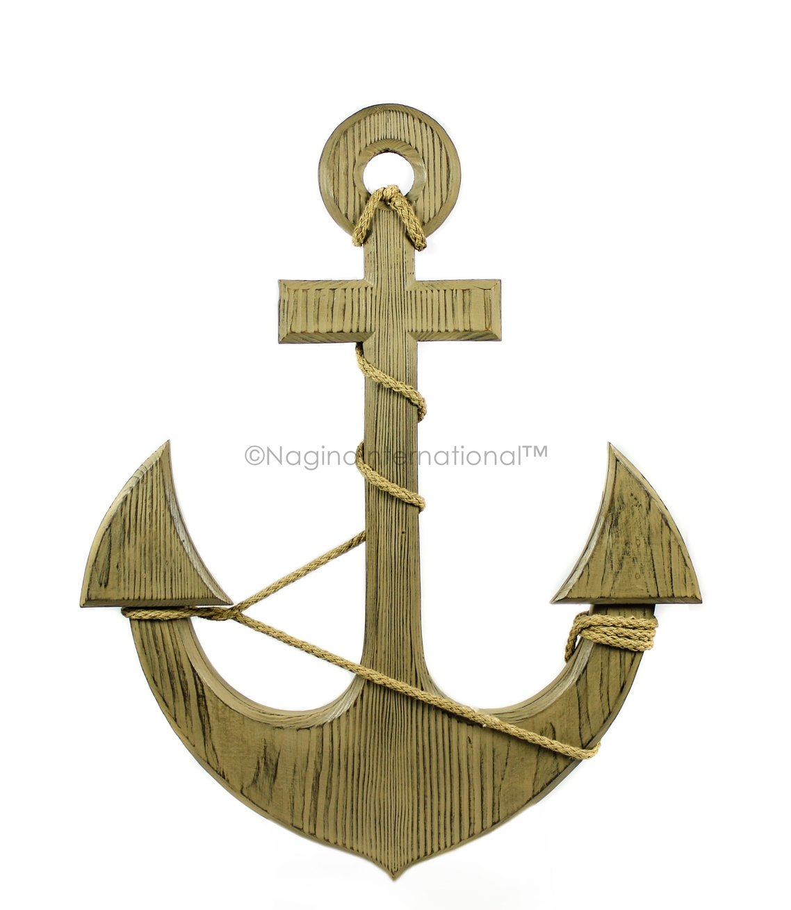 Nagina International 24'' Light Brown Nautical Wall Mounted Handcrafted Premium Antique Pine Wood Anchor With Accentuated Rope | Pirate's Ship Decor