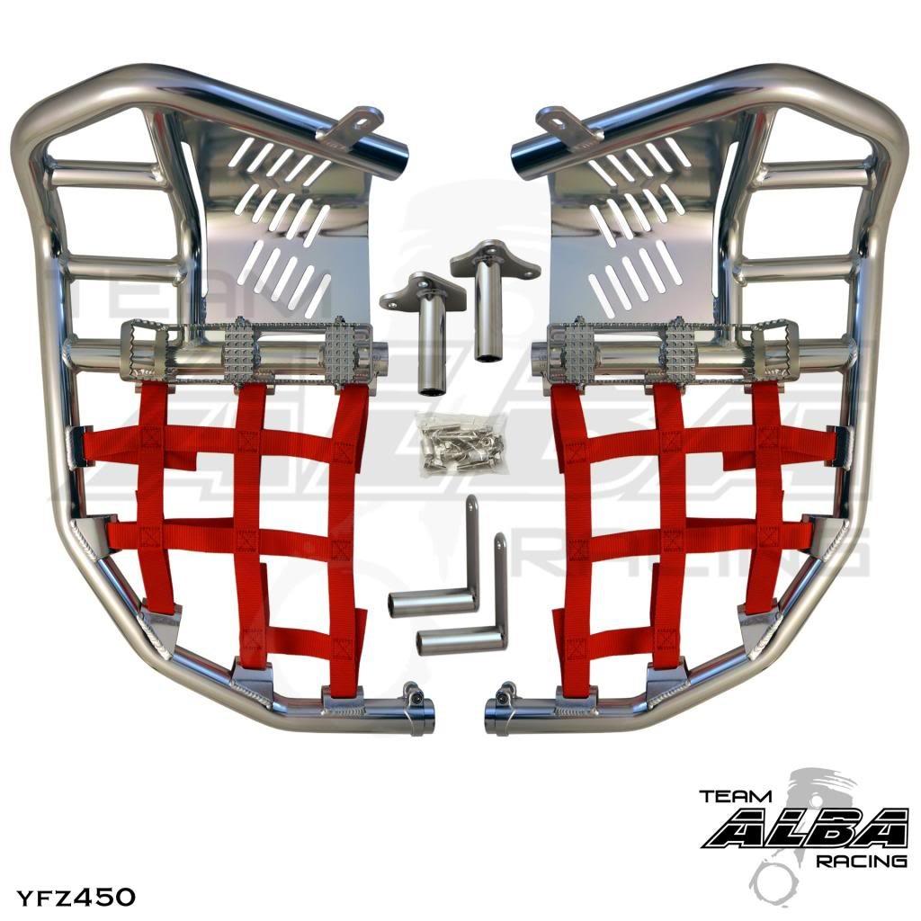 Yamaha YFZ 450 (2004-2009) (2012-2013) Propeg Nerf Bars Silver Bars w/Black Net Alba Racing