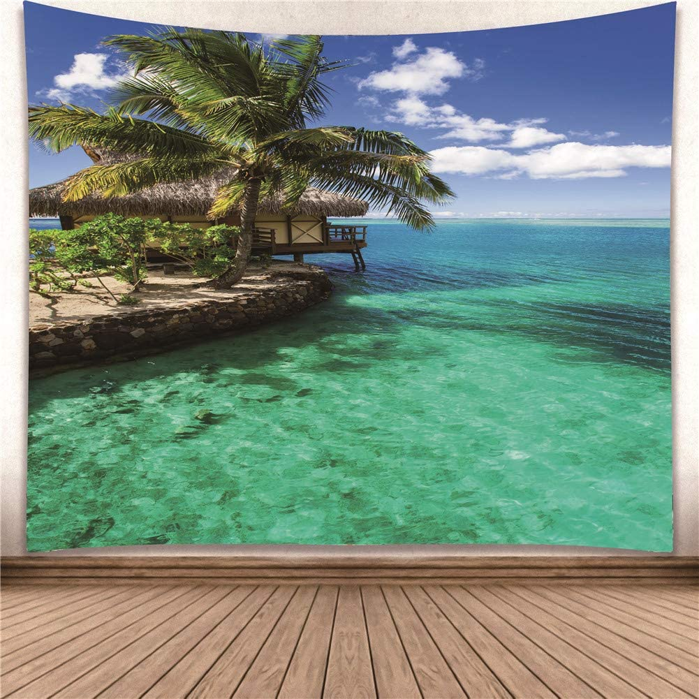 YISURE Huge Wall Hanging Tropical Coconut Tree Green Palm Tapestry Dorm Home Decoration Nature View 91x71 Inch