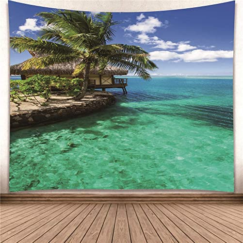 YISURE Huge Wall Hanging Tropical Coconut Tree Green Palm Tapestry Dorm Home Decoration Nature View 91×71 Inch