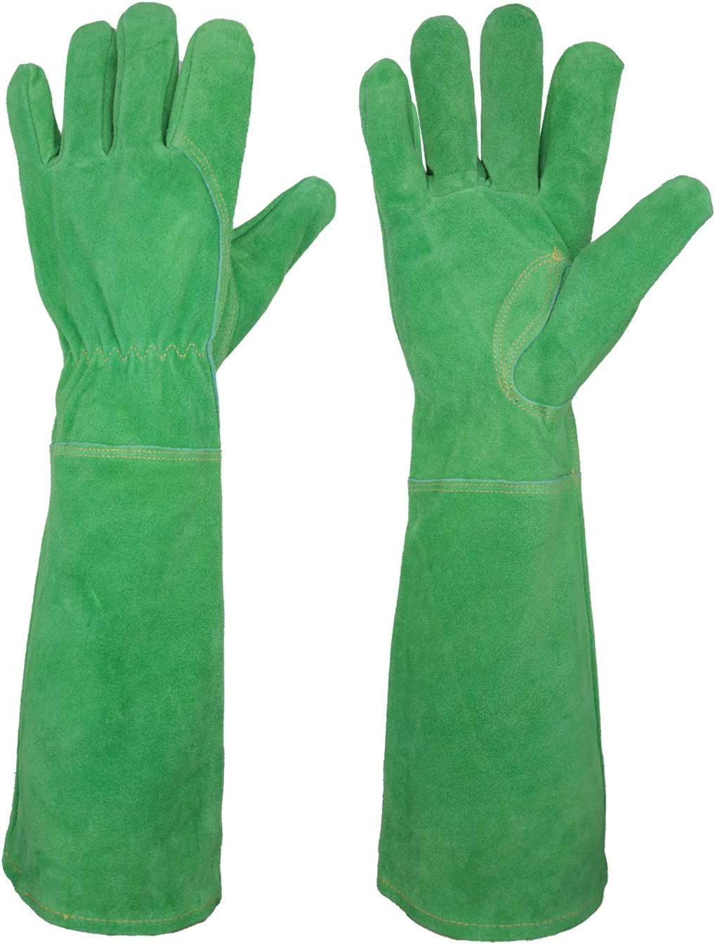 Rose Pruning Gloves for Women Long Sleeve Thorn Proof Cowhide Leather Gardening Gloves Gauntlet Garden Gloves (Medium, Green)