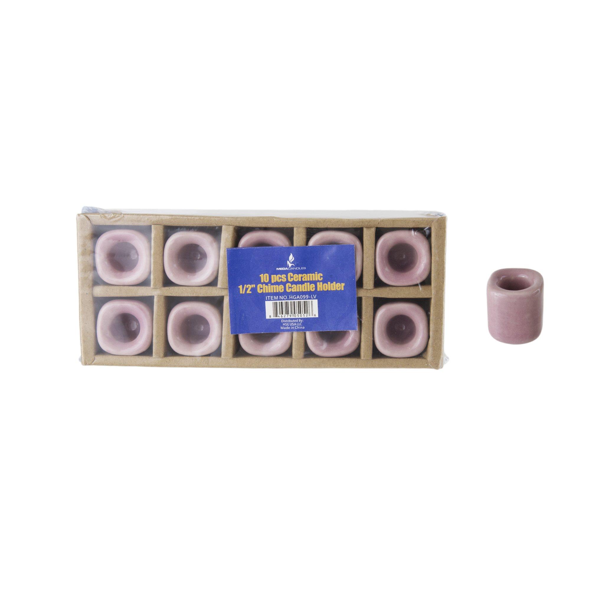 Mega Candles - 10 pcs Ceramic Chime Ritual Spell Candle Holders - Lavender