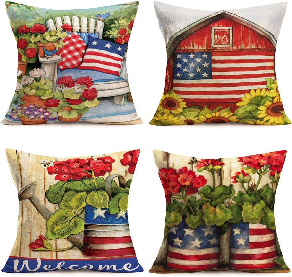 """Asminifor Vintage Independence Day Throw Pillow Covers Rustic Farm Patriotic American Flag Garden Red Antique Style Red Geranium Flowers Cotton Linen Pillow Cushion Cover 18""""x18"""",4Pack(VG-Flag)"""