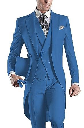 YSMO Herren Slim Fit 3 Stück Frack Anzug Blazer Jacke