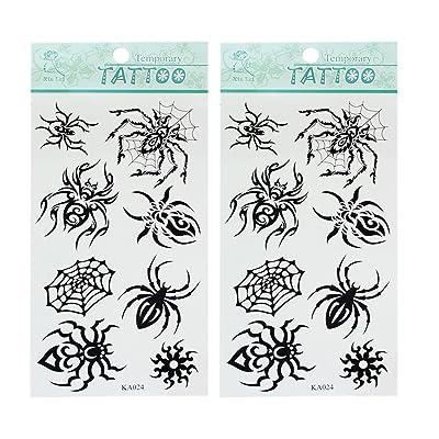 2pcs Nuevo Temporal Tatuaje Tattoo Araña Pegatina Arte Corporal Impermeable: Juguetes y juegos