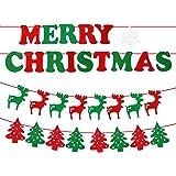 【ノーブランド品】クリスマス飾り フラグ 旗 ツリー&アルファベット&しかの3点セット
