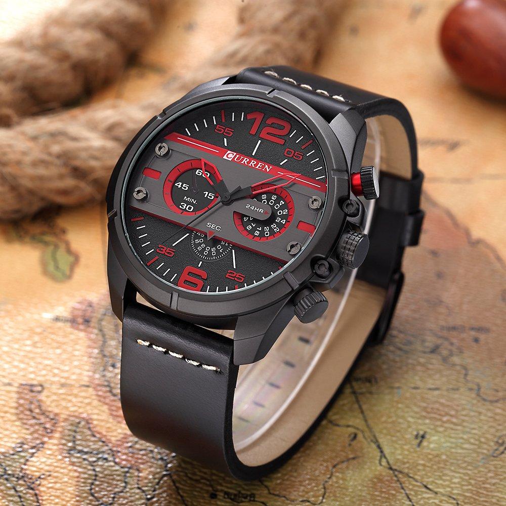 CURREN Original Brand Men's Sports Waterproof Leather Strap Wrist Watch 8259 All Black by CURREN (Image #2)