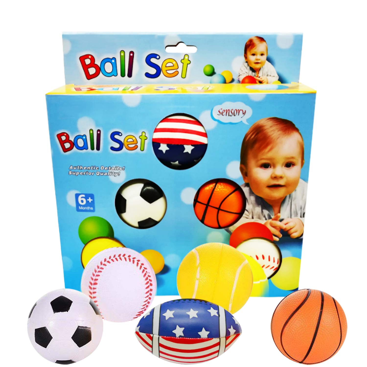 Set of 5 Sports Balls Mini Basketball Football Tennis Baseball Soccer Foam Ball Pack Toys Gifts for Kids Toddlers Baby 18 Months and Up