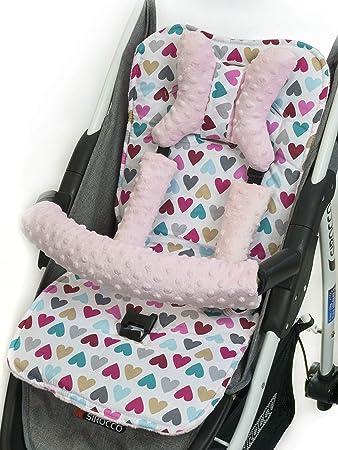 Universal Kinder-sitzauflage für Baby Kinderwagen Buggy Warm Matte Kissen Dicke Baumwolle mit Minky Fleece 75x35cm bunte Herz