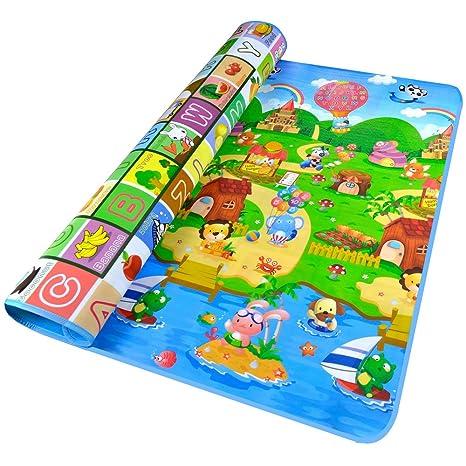 Golden Rule Bebé de Arrastre Mat Ambos Lados del Bebé Juego Mat Carpet (Multicolor)