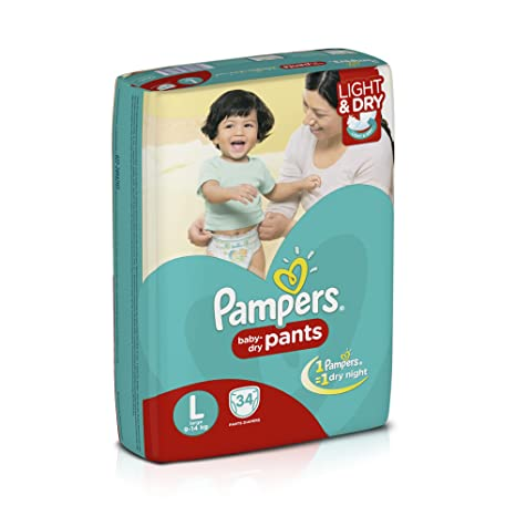 84dd7b5cd20 Buy Pampers Large Size Diaper Pants (34 Count) Online at Low Prices in  India - Amazon.in