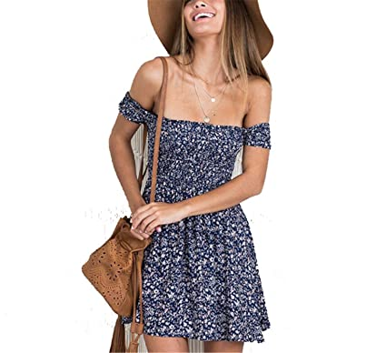 Best Annie Off Shoulder Floral Mini Christmas Party Dress Women New Plus Size Elastic Summer Dress Casual Beach Vestidos at Amazon Womens Clothing store: