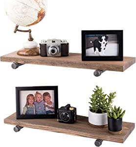 PIPE DÉCOR Industrial Pipe Wooden Shelves Restore Premium Douglas Fir Wood Shelving 24 Inch Length Set of 2 Boards and 4 Straight Brackets Sunset Brown Finish