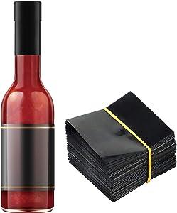 """Black Shrink Bands,65x60 mm 200 PCS Black Perforated Heat Shrink Wrap Sealer for Hot Sauce Bottles,Woozy Bottles and Beverage Bottles,Shrink Wrap Bands [Compatible Diameter Range: 1 1/4"""" – 1 1/2""""]"""