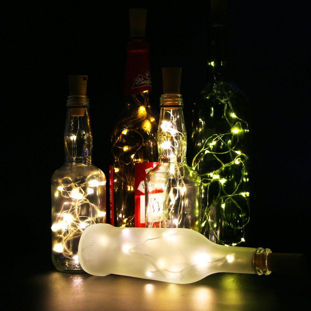 Juego de 6 botellas de vino Cork Lights - 78 pulgadas/2 M 20 LED plata Wire Lights String Starry LED luces para botella DIY, Fiesta, Decoración para Navidad ...