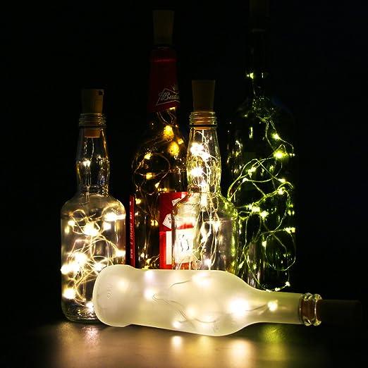 Juego de 6 botellas de vino Cork Lights – 78 pulgadas/2 M 20 LED