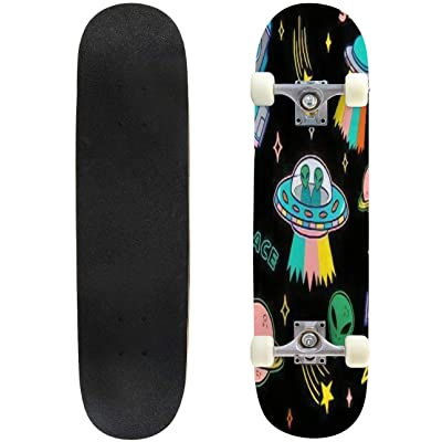 Classic Concave Skateboard Cartoon Colorful Set Seamless Pattern with UFO Aliens Spaceship Planet Longboard Maple Deck Extreme Sports and Outdoors Double Kick Trick for Beginners and Professionals : Sports & Outdoors