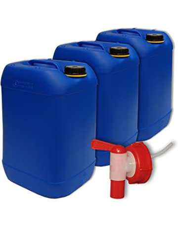 1 Hahn 4 Stück 20 Liter Kanister orange gebraucht Plastekanister Kunststoff