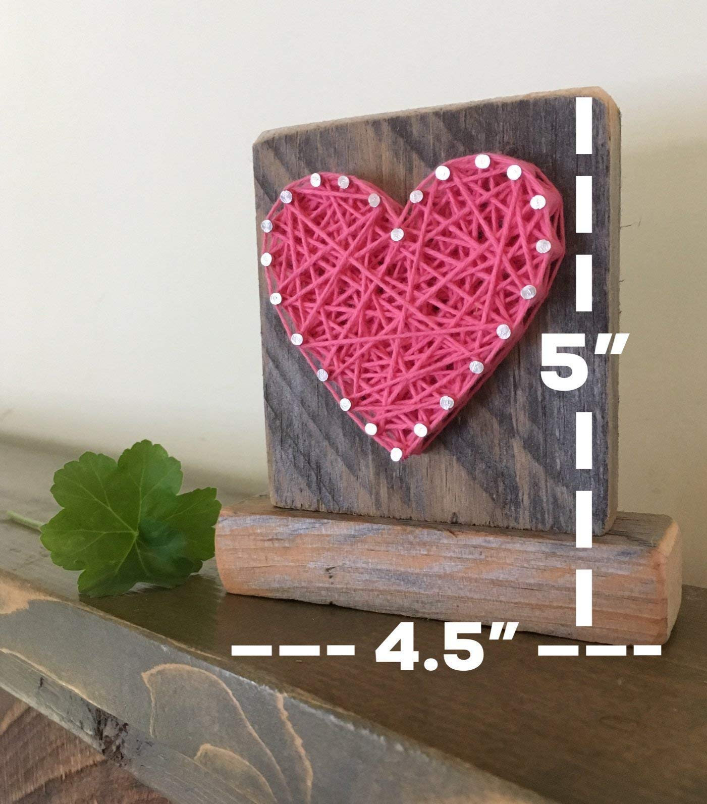 Sweet & small freestanding wooden pink string art heart sign. Perfect for Mother's Day, home accents, Wedding favors, Anniversary gifts, nursery decoration and just because gifts by Nail it Art. by Nail it Art (Image #2)