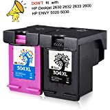 H&BO TOPMAE For HP 304 304 XL High Yield Remanufactured Ink Cartridges For HP Deskjet 3720 3700 3730 3732 3735 3752 3755 3758 [ Can't Use on HP Deskjet 2630 2632 2633 2600 & HP Envy 5020 5030 Printer That Produced AFTER 1/5/2018 ] Printer (1Black + 1Tri-Colour)