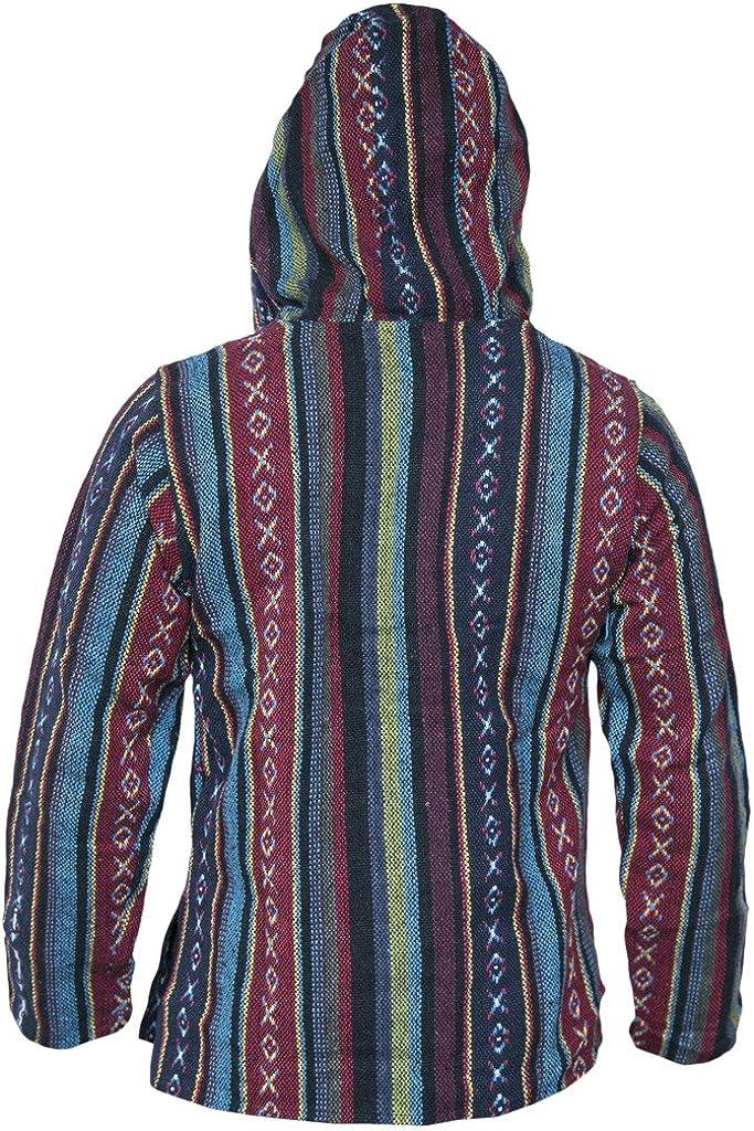 Little Kathhmandu Cotton Multicoloured Striped Ethnic Baja Hoodies