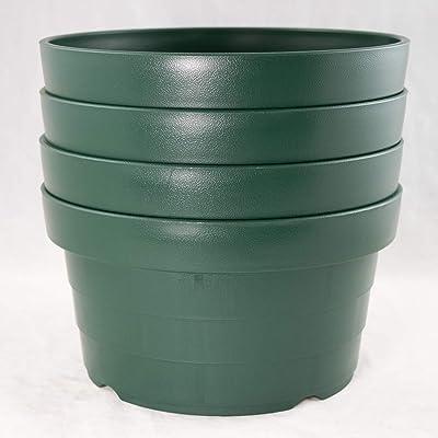 "4 Gr Japanese Heavy Duty Round Plastic Bonsai/Succulent Pot 8.25""x 8.25""x 4.5"": Garden & Outdoor"