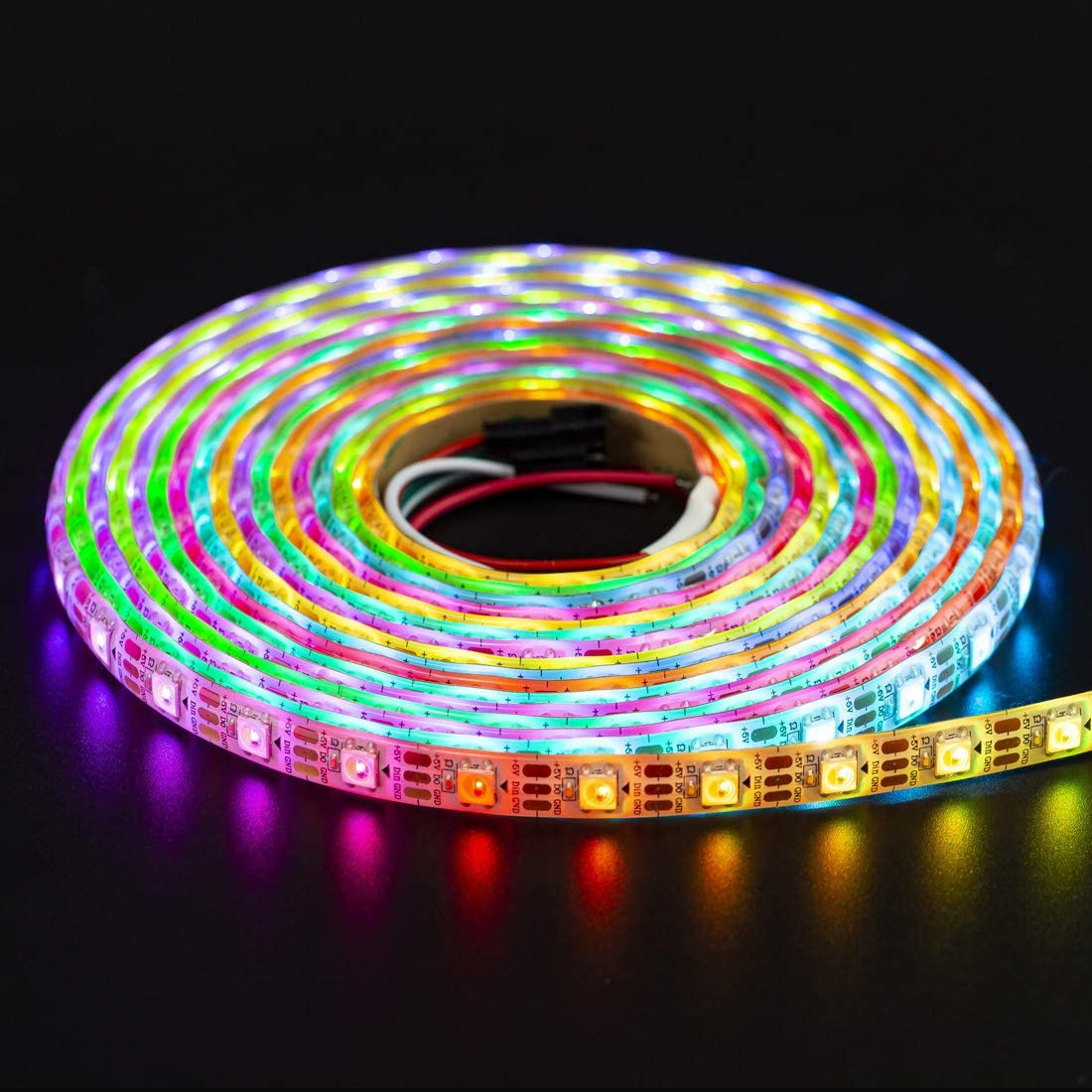 16.4ft 5m 60leds//Pixels//m Individually Addressable Flexible 4 Color in 1 LED Dream Color LED Strip Waterproof IP65 DC5V BTF-LIGHTING RGBW RGBCW White SK6812 Similar WS2812B