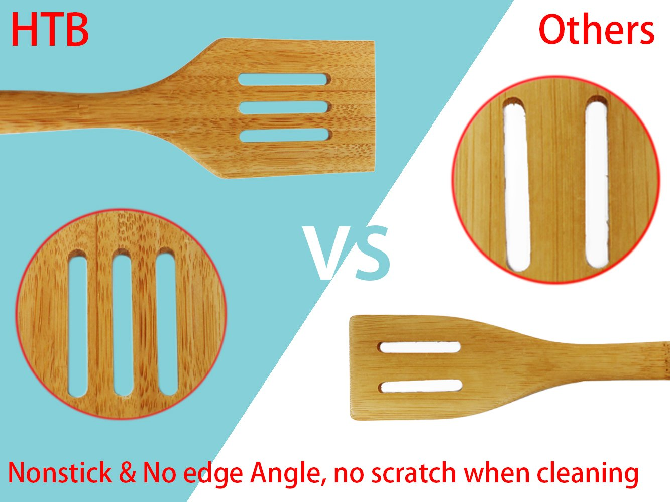 Amazon.com: 5PCS Bamboo Cooking Utensils - Nonstick Spoons and ...