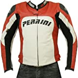 Perrini Tornado Motorcycle Leather Jacket Racing Jacket w/ hump Hard Armour Red -40